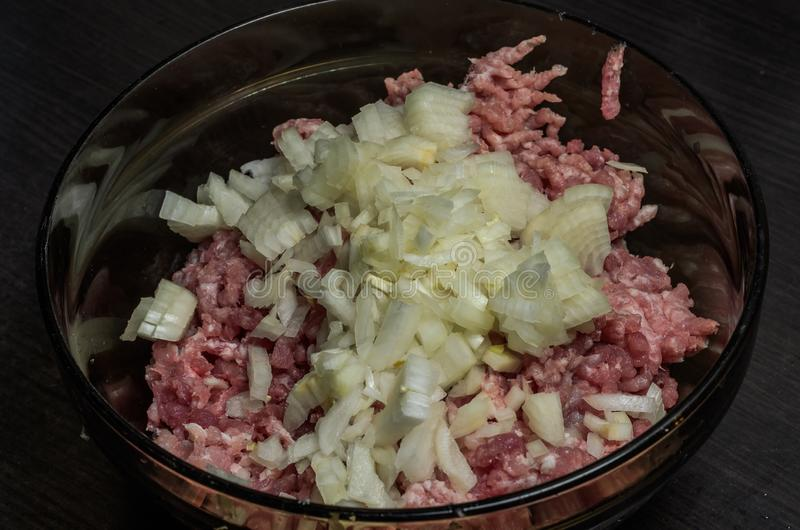 Ruw die vleesvarkensvlees in een plaat wordt fijngehakt stock foto
