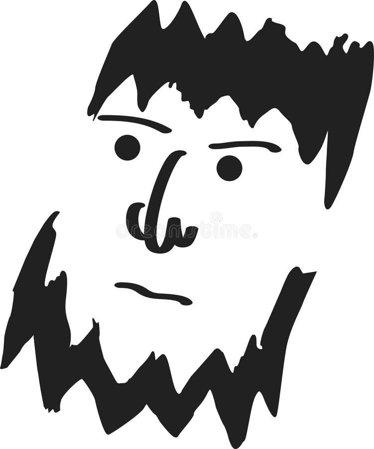 Ruw gebaard mensengezicht royalty-vrije illustratie