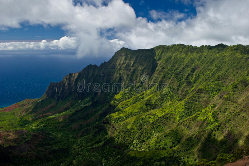 Ruw landschap van de kust Kauai van Na Pali stock foto's