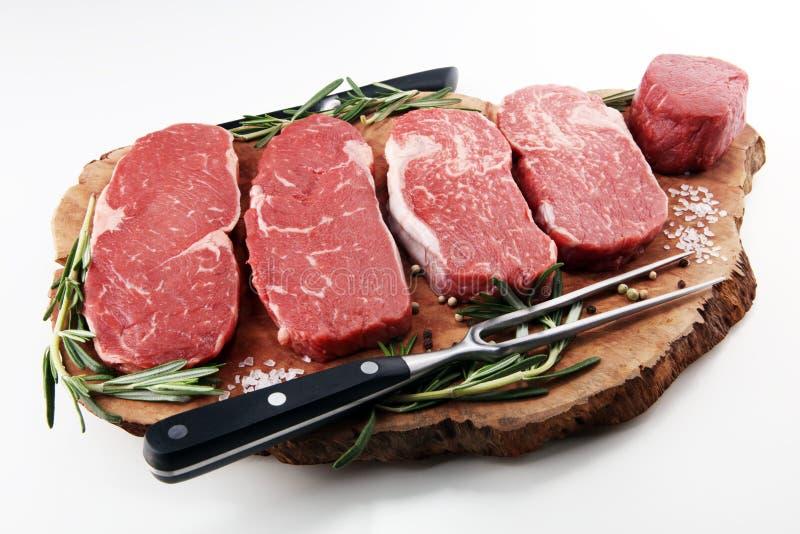 Ruw lapje vlees Barbecue Rib Eye Steak, droog Oud Wagyu-Entrecôtelapje vlees royalty-vrije stock foto's