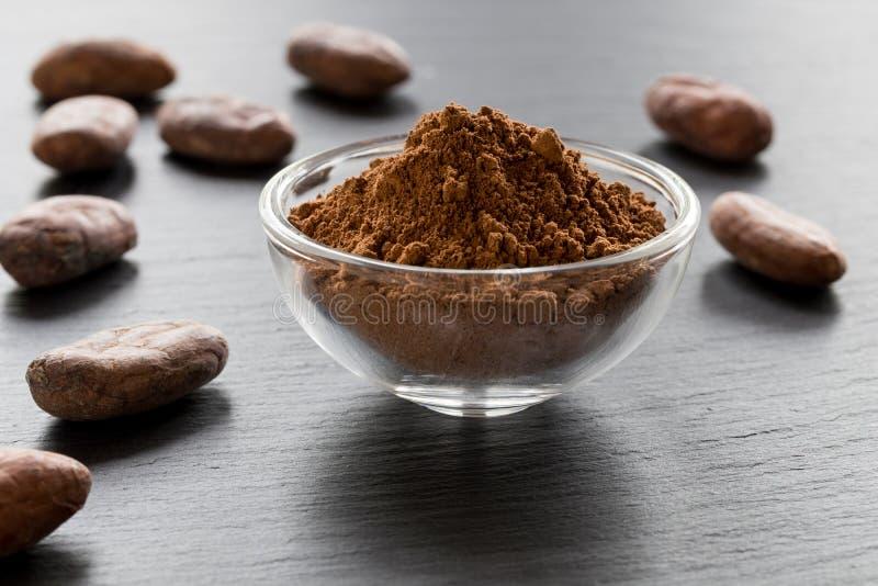Ruw niet geroosterd cacaopoeder en ruwe cacaobonen stock afbeelding