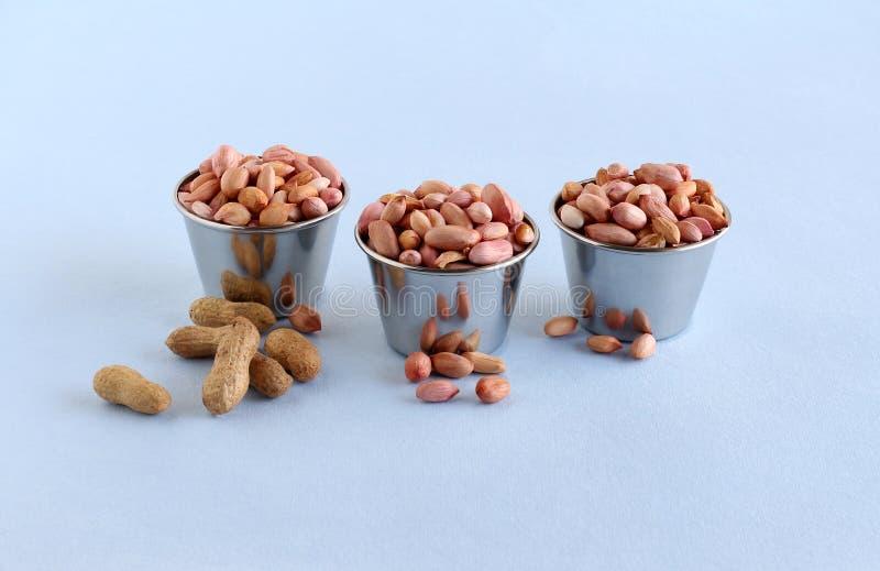 Ruw Pinda Gezond Voedsel in Staalkoppen stock foto's