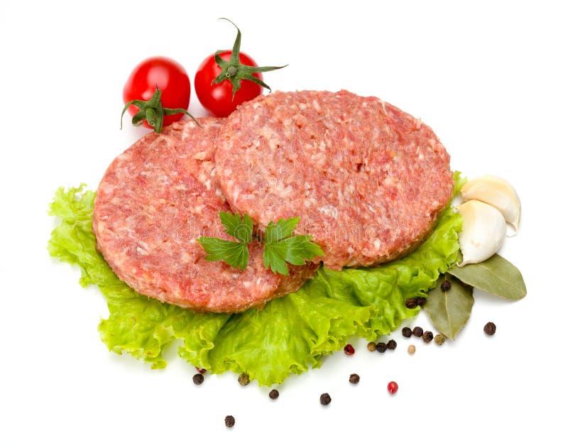 Ruw rundvlees en varkensvleeshamburgervlees royalty-vrije stock foto