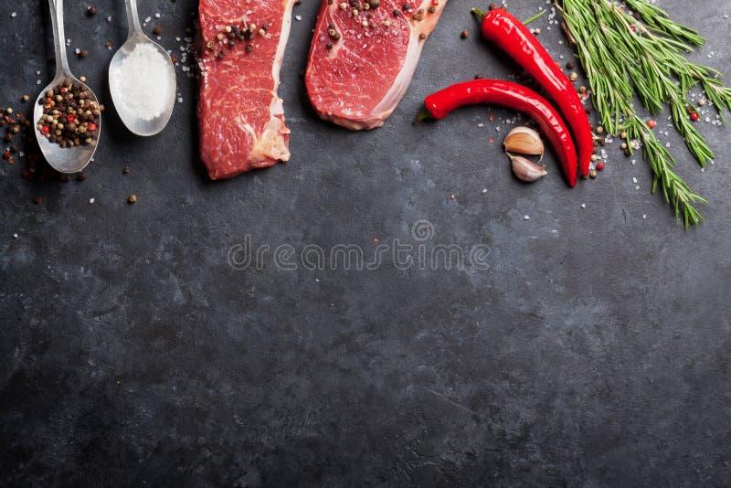 Ruw striploinlapje vlees royalty-vrije stock afbeelding