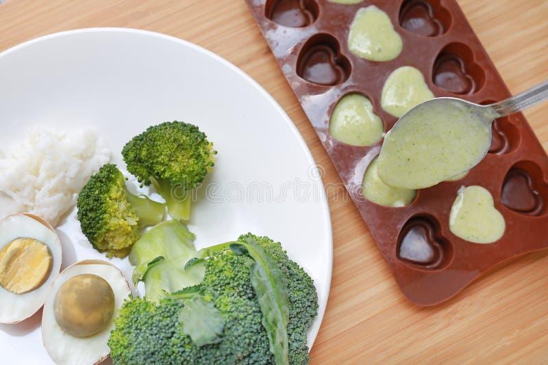 Ruw van de broccoli van het babyvoedsel, ei en rijst in witte plaat en fijngestampt babyvoedsel in container voor het bevriezen o stock afbeelding