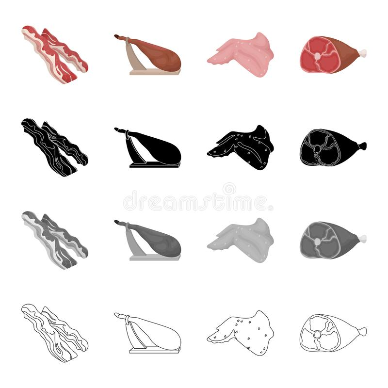 Ruw vlees: een bek, een heup op een tribune, een ham, een kippenvleugel Pictogrammen van de vlees de vastgestelde inzameling in b stock illustratie