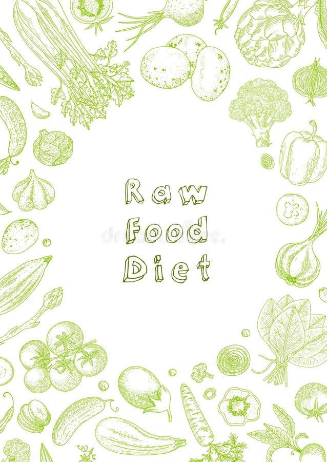 ruw voedseldieet Vegetarische uitstekende achtergrond met natuurlijke biologische producten Het gezonde leven Vectorsamenstelling royalty-vrije illustratie