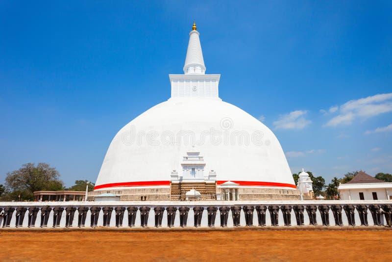 Ruwanwelisaya stupa在阿努拉德普勒,斯里兰卡 免版税库存图片