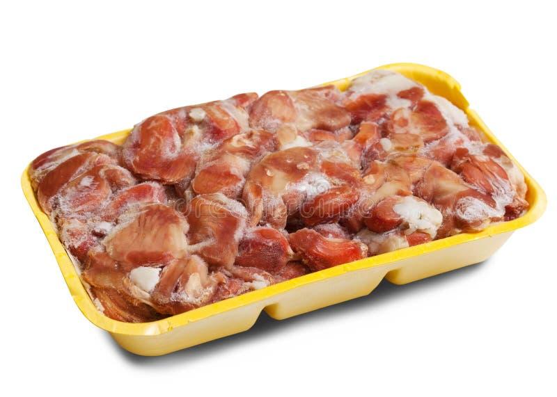Ruwe bevroren kippenspiermaag stock afbeelding