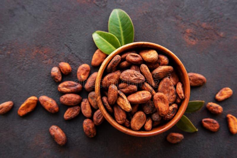 Ruwe cacaobonen royalty-vrije stock fotografie