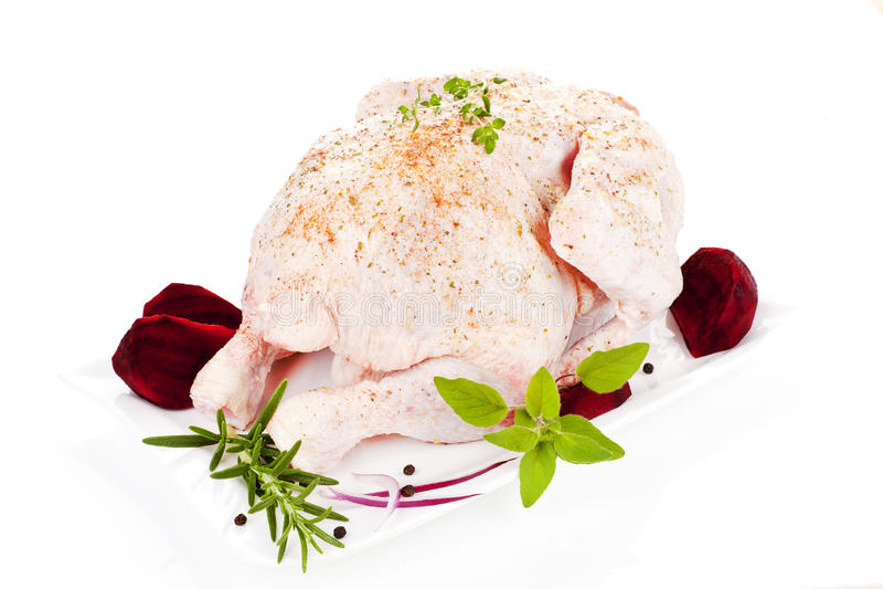 Ruwe gehele kip. Gevogelte. royalty-vrije stock foto's