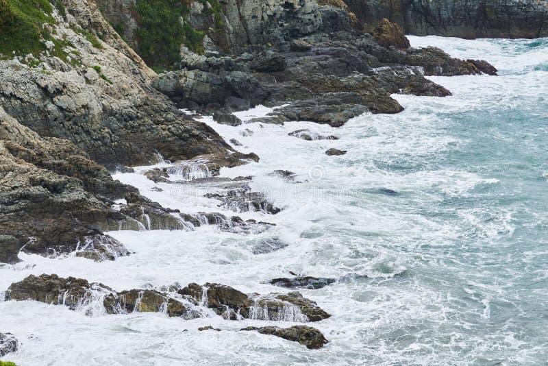 Ruwe golven op een kust stock foto's