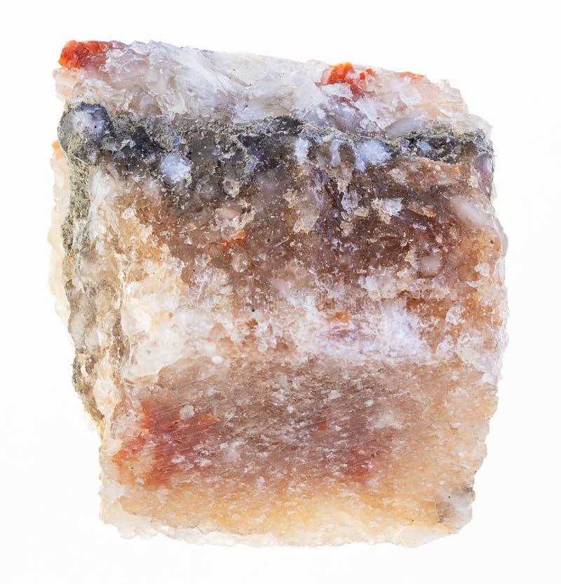 ruwe halite (rotszout) steen op wit stock afbeeldingen