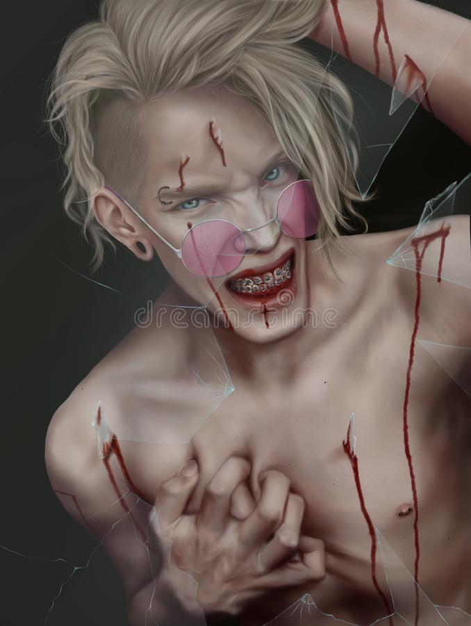 Ruwe jongen met het glas in zijn huid stock illustratie