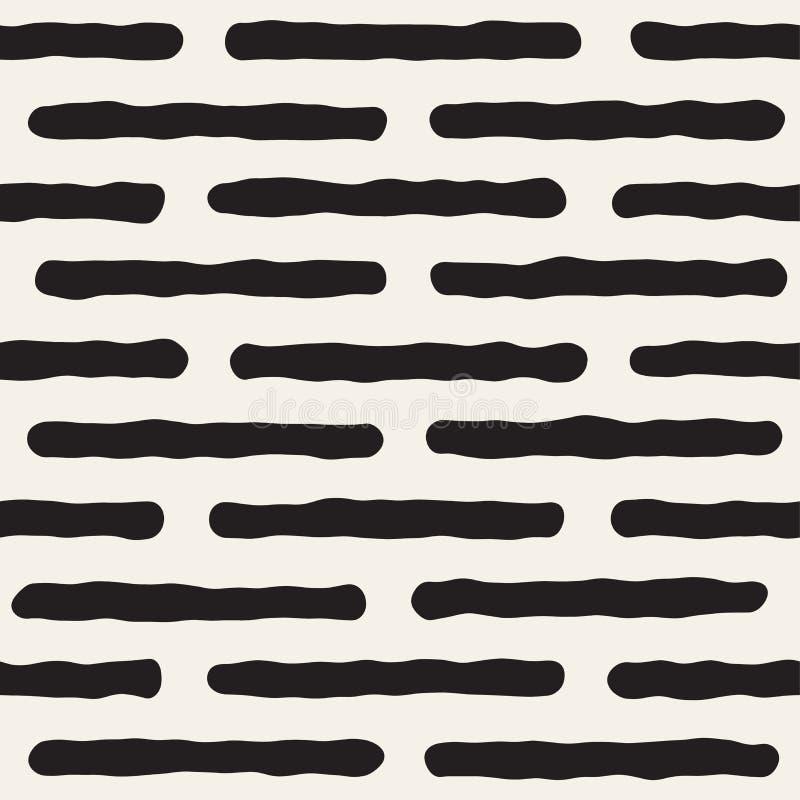 Ruwe Lijnhand Getrokken Cirkels Vector naadloos zwart-wit patroon stock illustratie