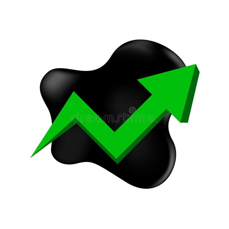 Ruwe olie met het benadrukken van grafiek en symbool groene die pijl op witte achtergrond wordt geïsoleerd, zwart metaalvat en r stock illustratie