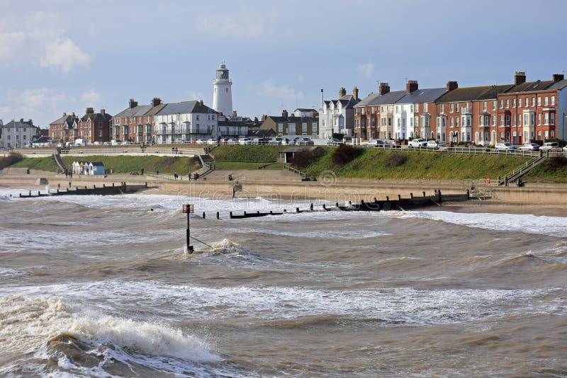 Ruwe Overzees in Southwold, Suffolk, het UK royalty-vrije stock afbeelding