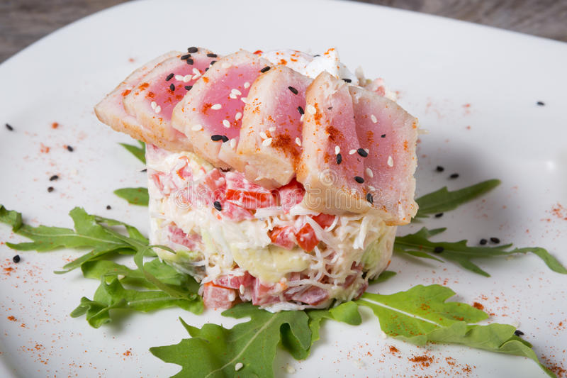 Ruwe tonijnsalade stock foto
