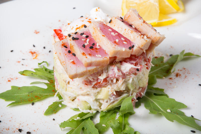 Ruwe tonijnsalade royalty-vrije stock afbeelding