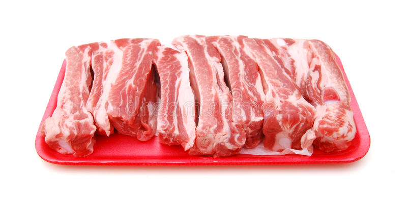 Ruwe varkensvleesribben royalty-vrije stock afbeelding