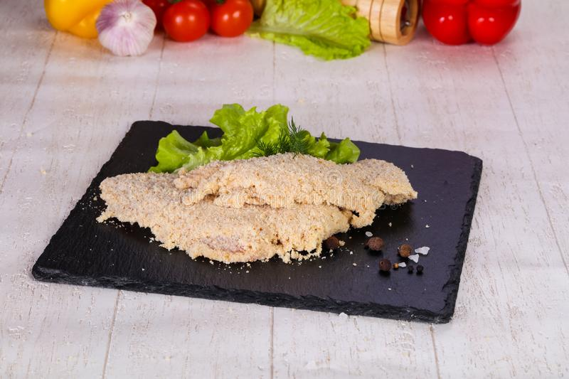 Ruwe Varkensvleesschnitzel royalty-vrije stock afbeelding