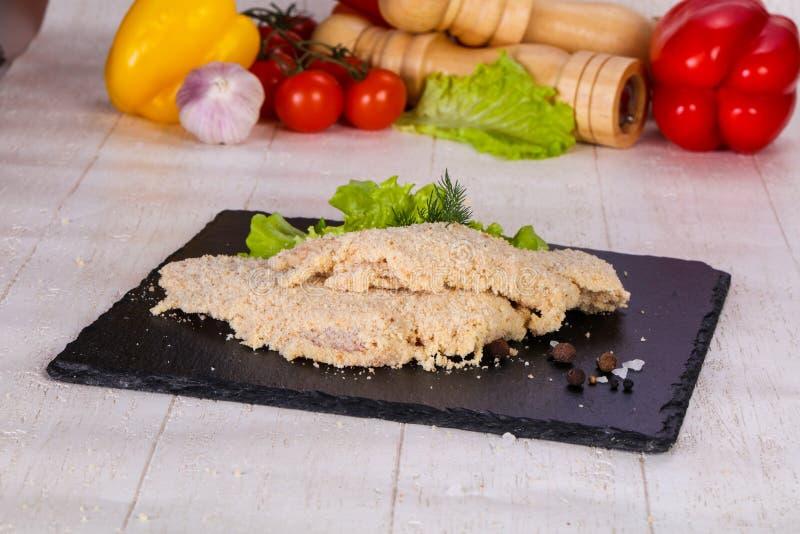 Ruwe Varkensvleesschnitzel royalty-vrije stock foto