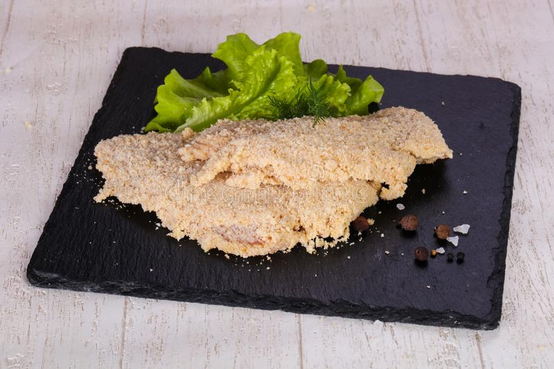 Ruwe Varkensvleesschnitzel stock foto's