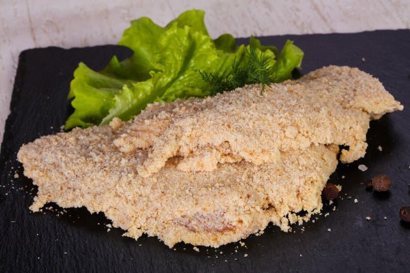 Ruwe Varkensvleesschnitzel stock fotografie