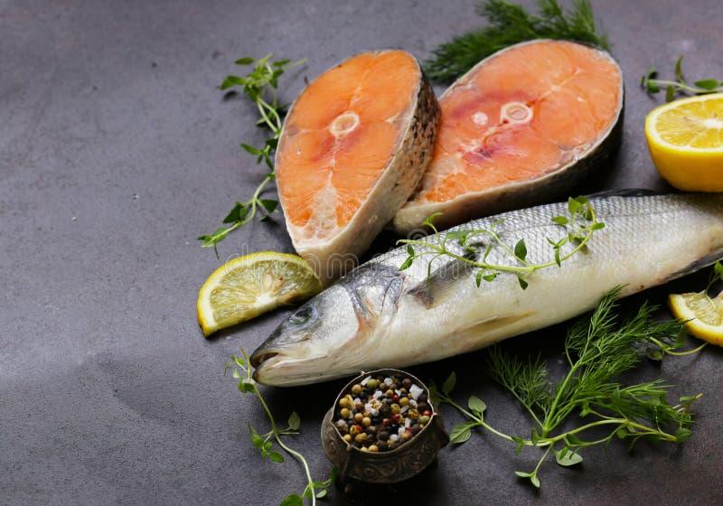 Ruwe vissen overzeese baarzen en zalm royalty-vrije stock afbeelding