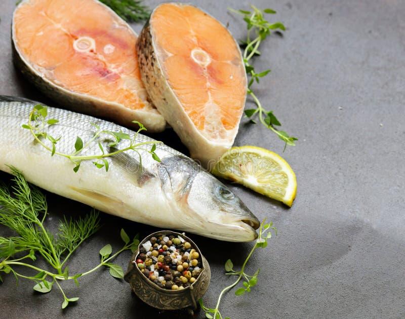 Ruwe vissen overzeese baarzen en zalm royalty-vrije stock afbeeldingen