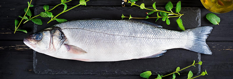 Ruwe Vissen Overzeese baarzen op leibord Ingrediënten voor het koken, gebakken grill, stock foto