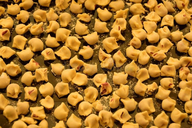 Ruwe vleesbollen of ravioli stock afbeelding