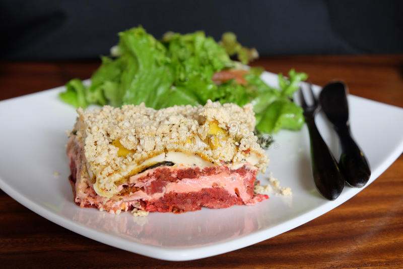 Ruwe Voedsel Vegetarische Lasagna's stock afbeelding