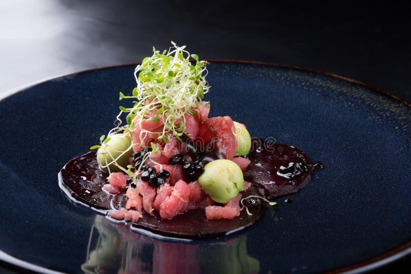 Ruwe zeevruchtentonijn tartare royalty-vrije stock fotografie