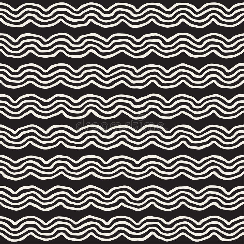 Ruwweg Getrokken Golvende Strepen Modieuze Grafische Textuur Vector naadloos zwart-wit patroon vector illustratie