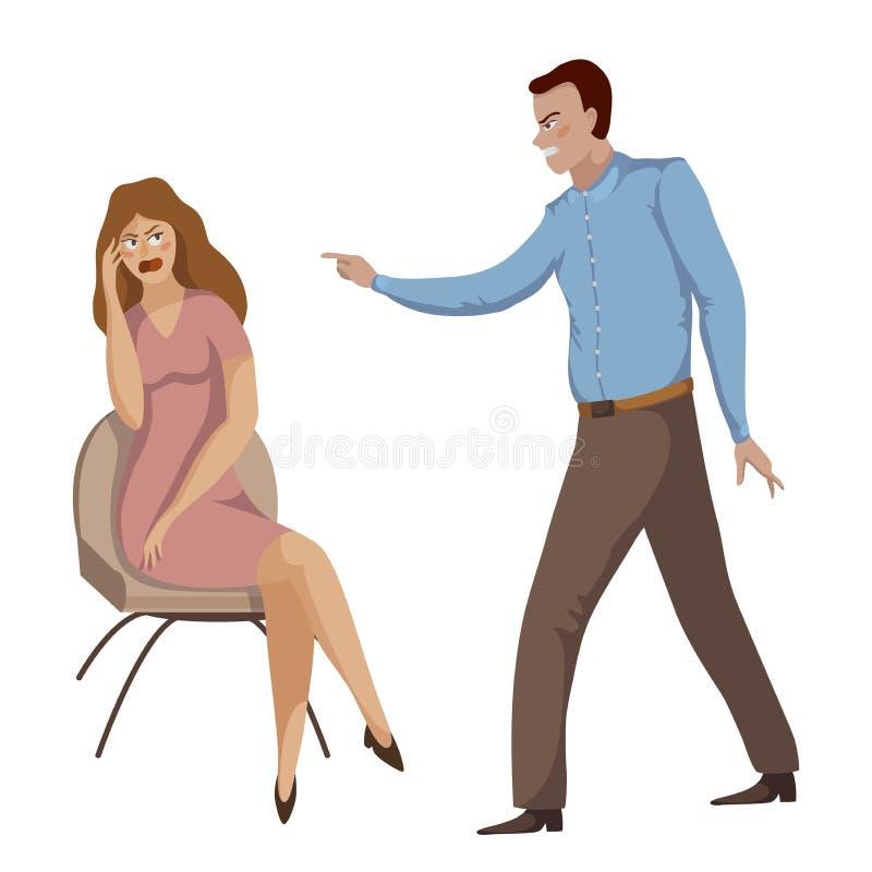 ruzie Het jonge paar debatteren Man en vrouw die bij elkaar schreeuwen Problemen in verhoudingen, meningsverschil en conflict royalty-vrije illustratie
