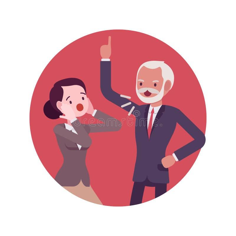 Ruziescène in het bureau tussen de werkgever en de arbeider stock illustratie