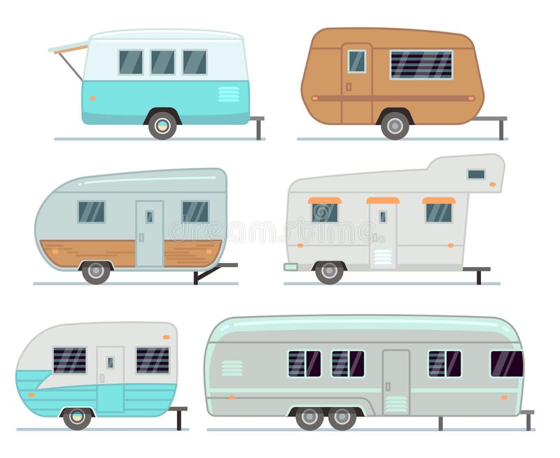 Rv野营的拖车,移动活动房屋,有蓬卡车被隔绝的传染媒介集合 向量例证