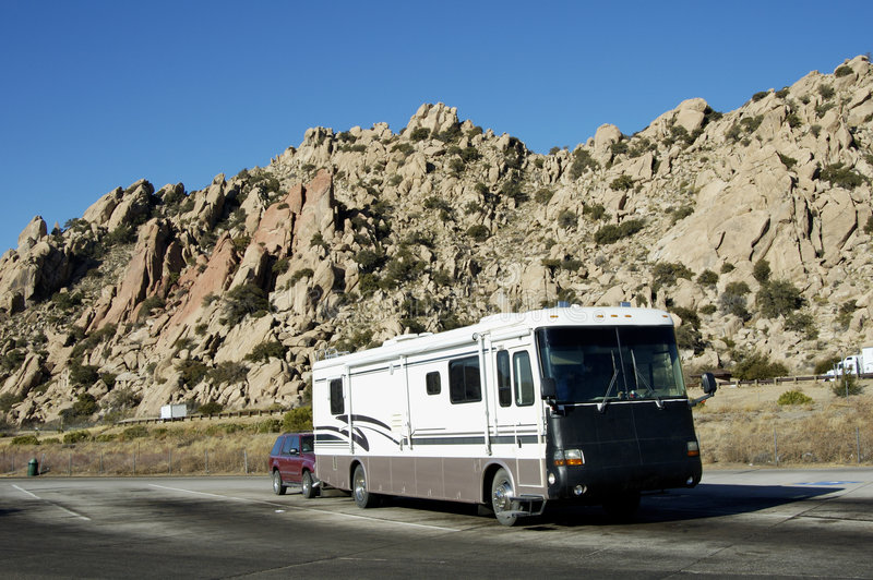 RV. Recreational vehicles parked at an interstate rest area in Arizona stock photography