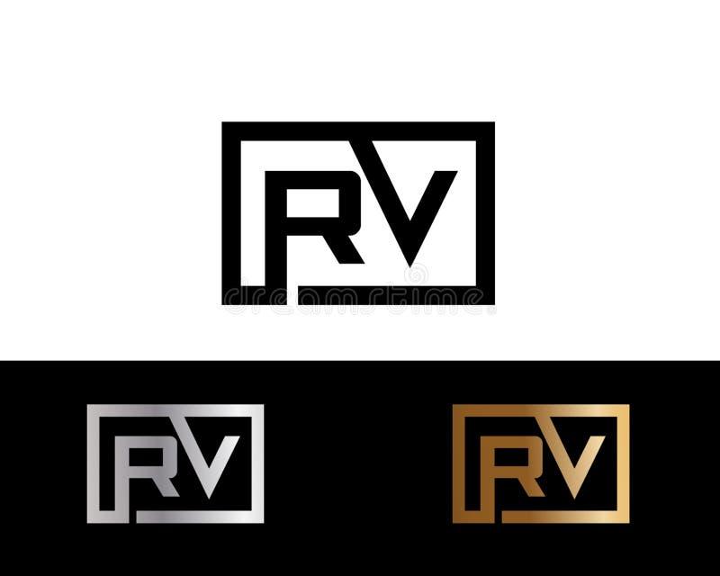 Rv ajusta diseño del logotipo de la letra de la forma en el color oro de plata stock de ilustración