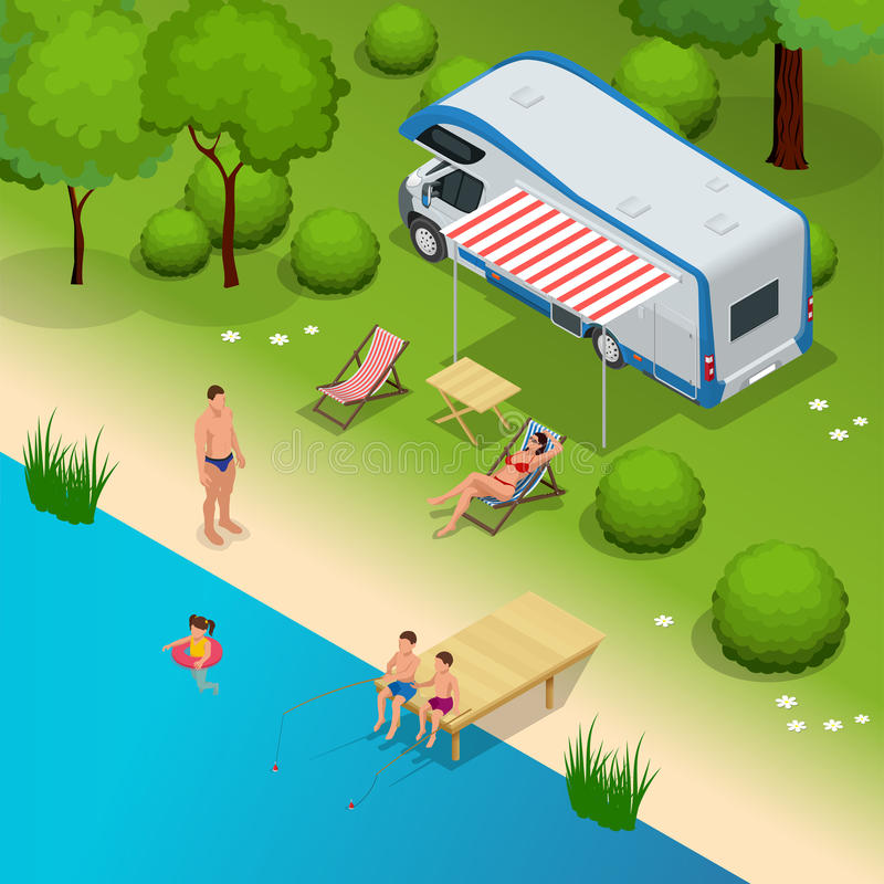 RV camper in camping, family vacation travel, holiday trip in motorhome Flat 3d vector isometric illustration. RV camper in camping, family vacation travel vector illustration