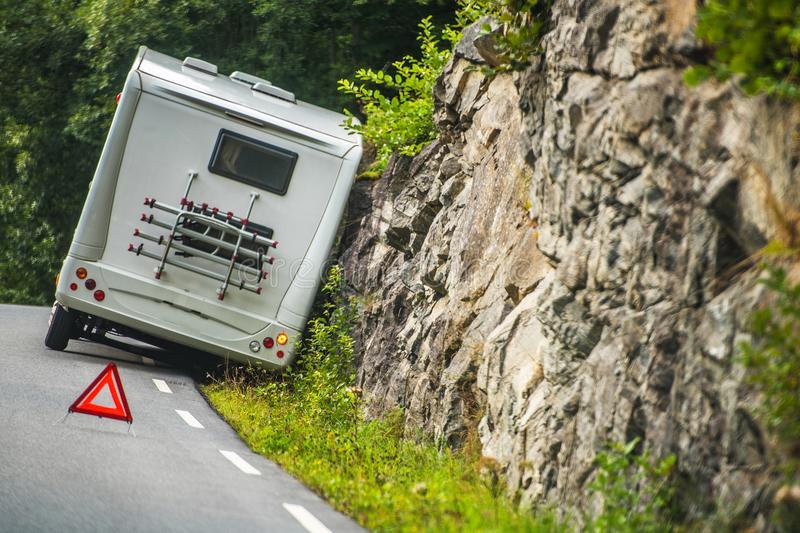 RV Camper Van Accident. On the Winding Mountain Road royalty free stock images