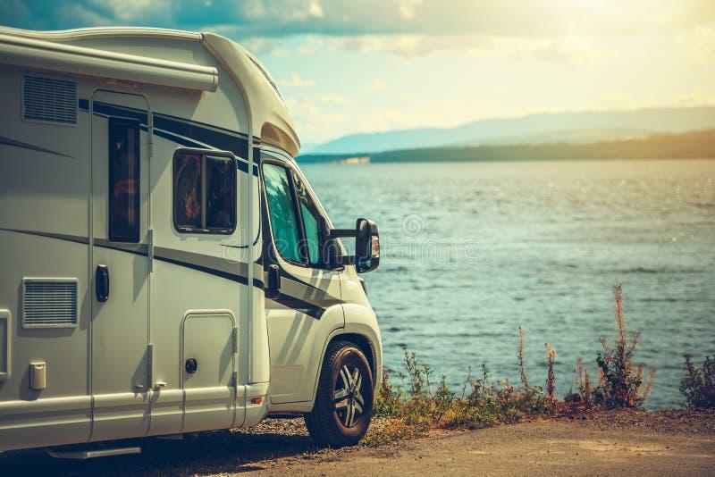 RV Camper Van Traveling royalty free stock photo