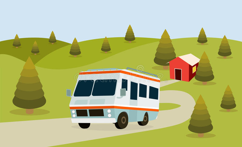 RV Camping. Forest background for family travel royalty free illustration