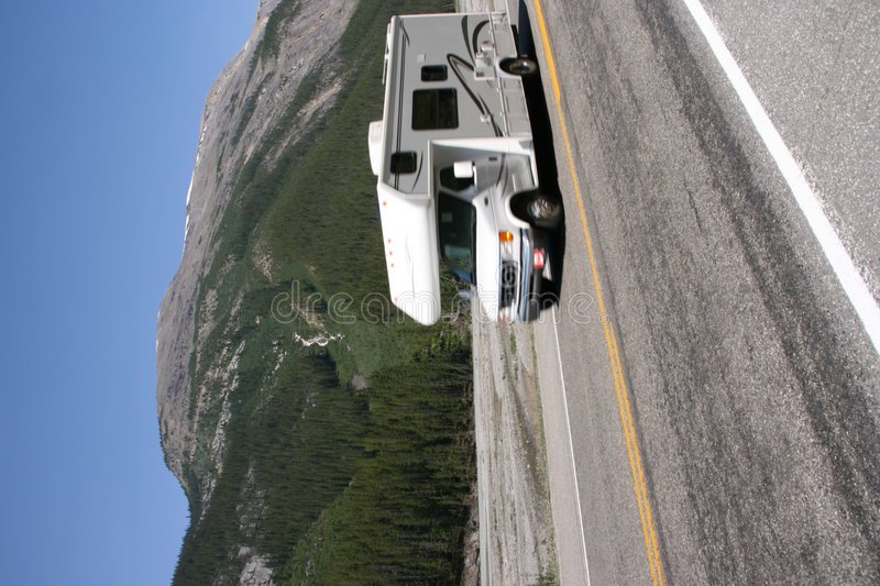 RV in Canadian Rockies stock image