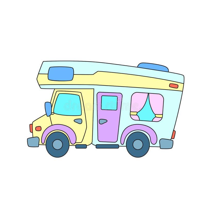 RV car or camper colorful vector illustration on white background. Summer travel transport. Travel vehicle vector illustration