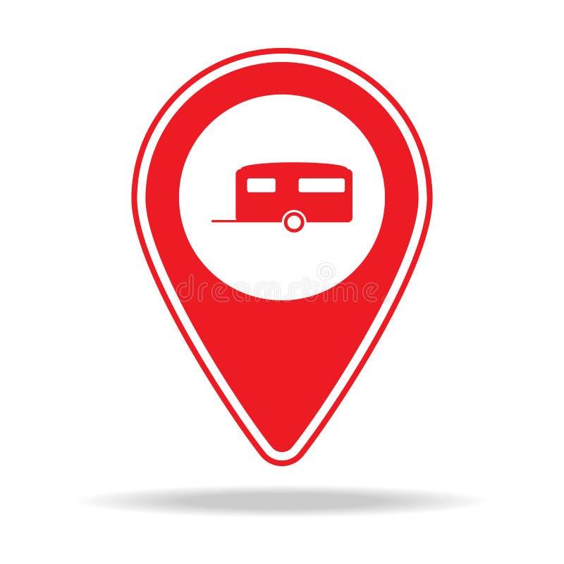 rv-de speldpictogram van de parkkaart Element van de speldpictogram van de waarschuwingsnavigatie voor mobiel concept en Web apps stock illustratie