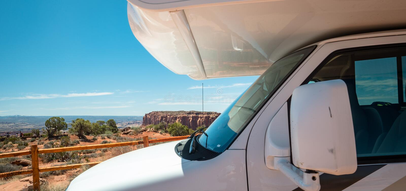 RV Motorhome parking with grand canyon views royalty free stock photo