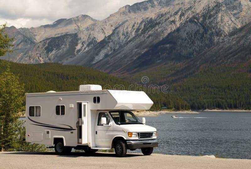 RV near a lake in Banff N.P. in Canada stock photos