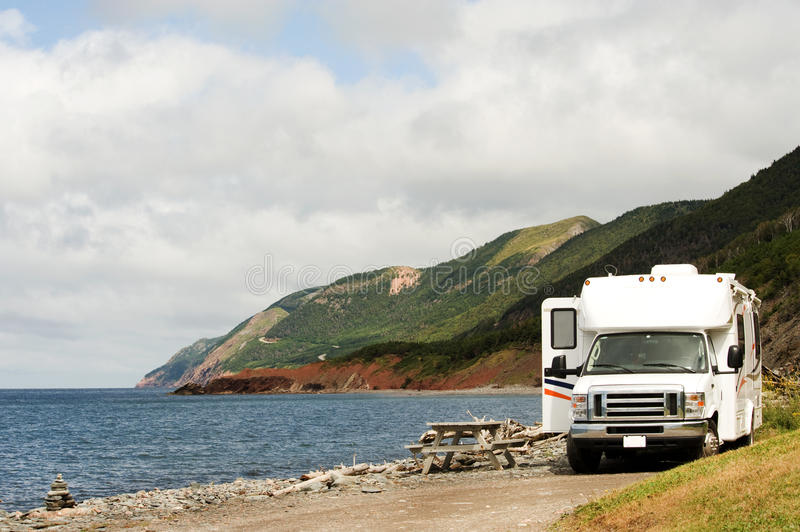 RV at picnic area royalty free stock photo